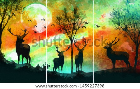 Collection of designer oil paintings. Decoration for the interior. Modern abstract canvas art. Set of pictures.  landscape of two deer in a forest at night with dark galaxy background with moon