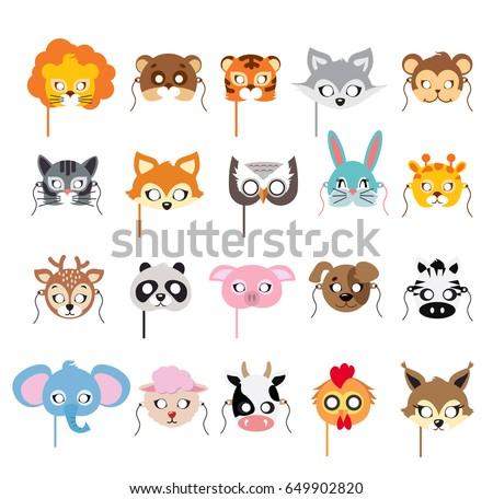 Collection of different animal masks on face. Mask of lion, bear, tiger, rabbit, monkey, cat, fox, owl, hare, giraffe, deer, panda pig dog zebra elephant sheep cow squirrel Flat desing
