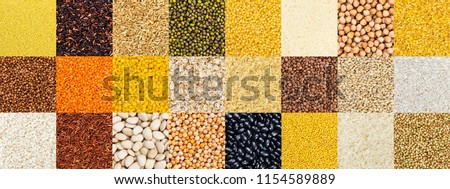 Collection of different cereals, grains, rice and beans backgrounds.