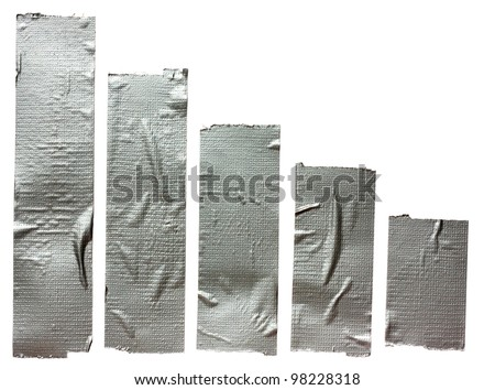 Collection of different duct tape  strips .Adhesive tape isolated on white background