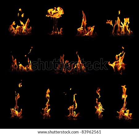 Collection of different fire flames on black background
