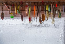 Collection of different fishing hooks