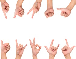 Collection of different hand signs isolated on white with copy space