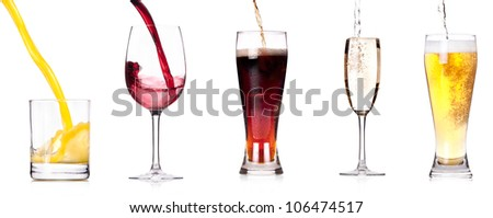 Collection of different images of alcohol drinks  isolated on a white background