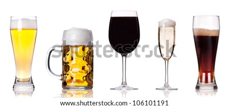 Collection of different images of alcohol isolated on a white background #106101191