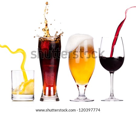Collection of different images of alcohol isolated on a white background