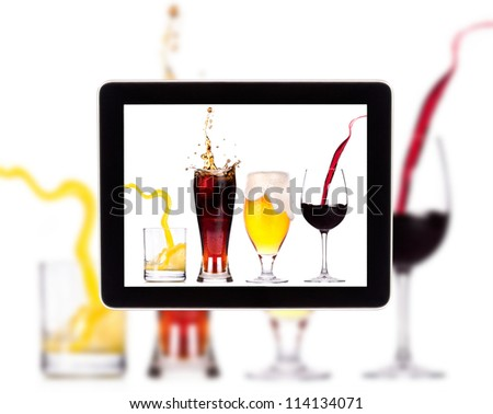 Collection of different images of alcohol on a Digital Tablet screen