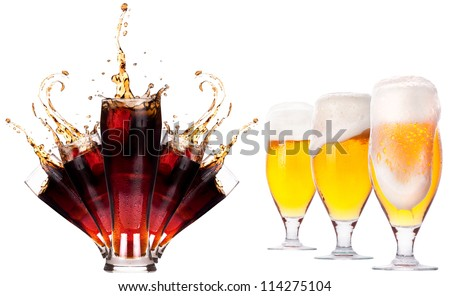 Collection of different images of drinks isolated isolated on a white background