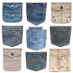 Collection of different jeans pocket on the white background