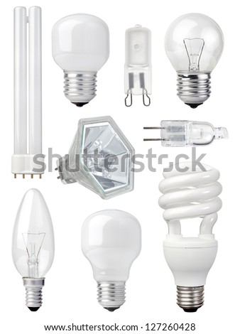 collection of different kind of light bulbs on white background
