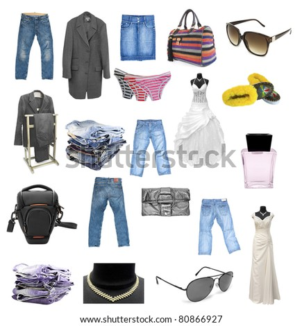 Collection of different kinds of clothes isolated on white