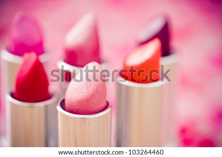 collection of different lipsticks colors