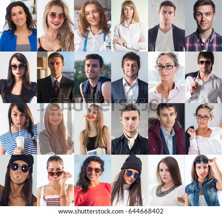 Collection of different many happy smiling young people faces caucasian women and men. Concept business, avatar. #644668402