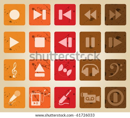 Collection of different music themes icons. Retro style.