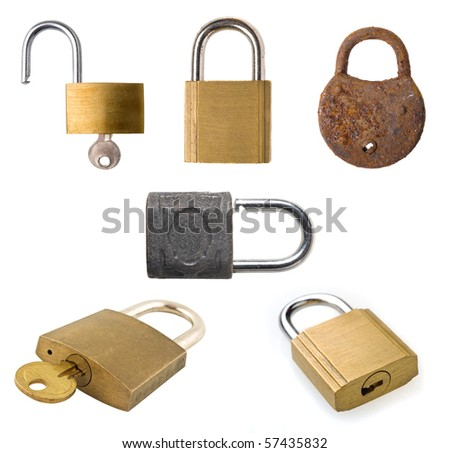 Collection of different old padlocks on white background. - stock photo