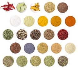 Collection of different spices and herbs isolated on white background