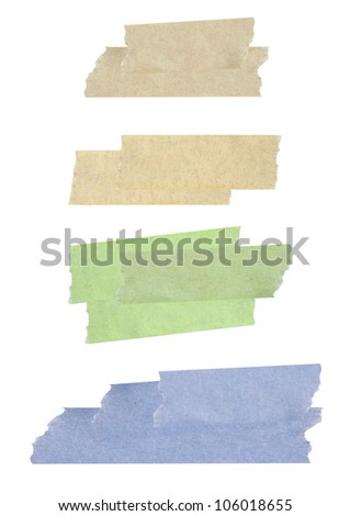 Collection of different stripes of masking tapes on white background for scrapbook