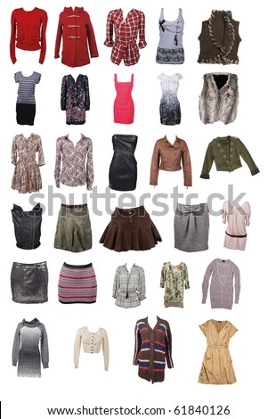Collection Of Different Types Of Woman Clothing Stock Photo 61840126  Shutterstock
