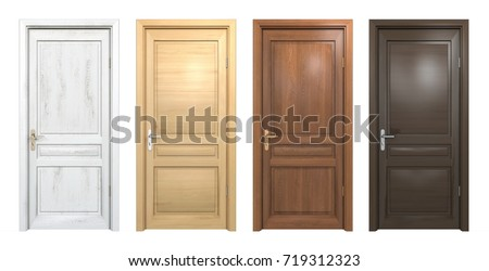 Collection of different wooden doors isolated on white, 3D rendering