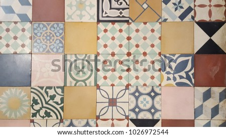 Collection of differents ceramic tiles in retro colors #1026972544
