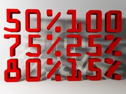 collection of discount numbers isolated on white background