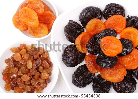 Collection of dried fruits on plates