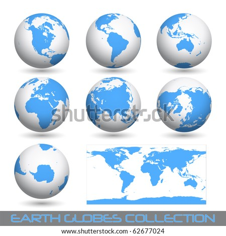 collection of earth globes end a map isolated on white,  illustration. Vector format is also available in my gallery.