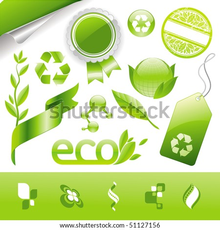 Collection of eco signs, labels and emblems