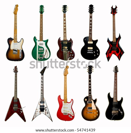 collection of electric guitars on white background