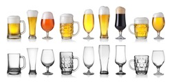 Collection of empty and full beer in glass isolated on white background