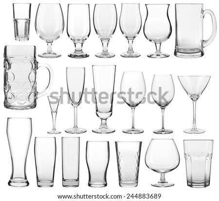 Collection of empty glassware on white background  #244883689