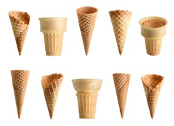 Collection of empty ice cream cone isolated on white background