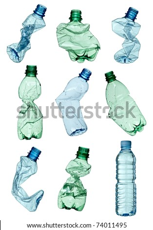 collection of empty used plastic bottles on white background each one is shot separately