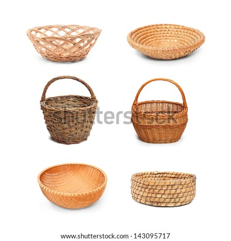 Collection of empty wicker bowls and baskets on white background. Traditional rustic handmade products.