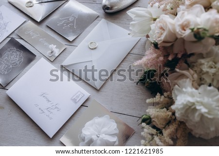 collection of envelopes or invitations isolated on white, wedding invitation card design concept #1221621985