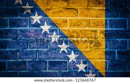 Collection of european flag on old brick wall texture background, Bosnia