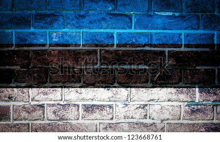 Collection of european flag on old brick wall texture background, Estonia