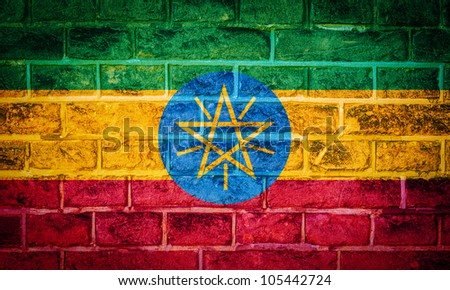 Collection of european flag on old brick wall texture background, ethiopia