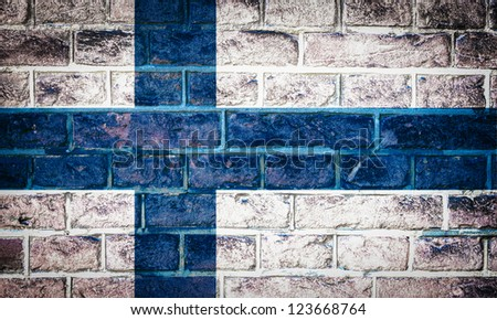 Collection of european flag on old brick wall texture background, Finland