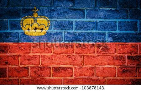Collection of european flag on old brick wall texture background, Liechtenstein - stock photo