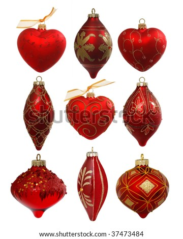 Collection of expensive manually  painted Christmas balls, isolated on white