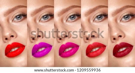 Collection of eyes and lips red and purple hues. The palette of lipsticks. Close-up.