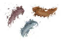 Collection of eyeshadow make up on white background. Isolated