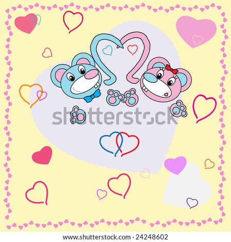 Collection of falling in love animals over cute background with hearts - rastered image. Vector format in EPS is also available in my gallery.