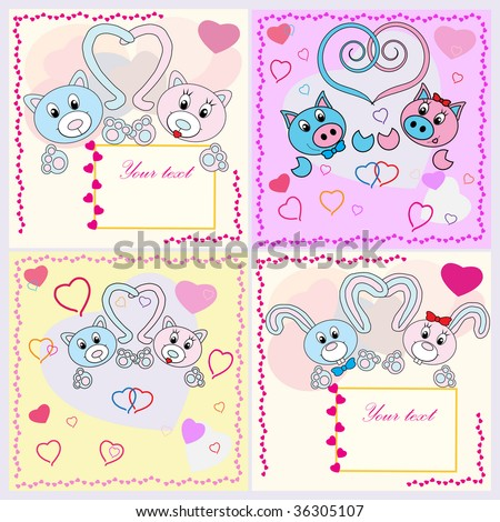 Collection of falling in love animals over cute background with hearts. Rasterized versions.