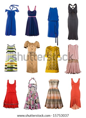 collection of female color fashion dress - stock photo
