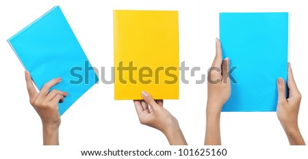 collection of female hand holding a yellow book and blue, isolated on white background