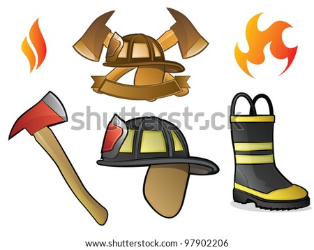 Collection of Firefighter/Fireman Symbols, Icons, and Objects