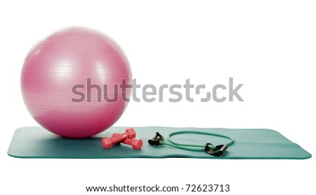collection of fitness equipment over white