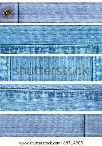 Collection of five jeans banners. Isolated over white